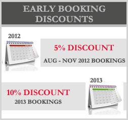 Early Booking Promo Till End of July 2012