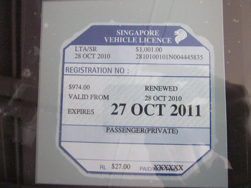 Road Tax For Private Passenger Vehicle