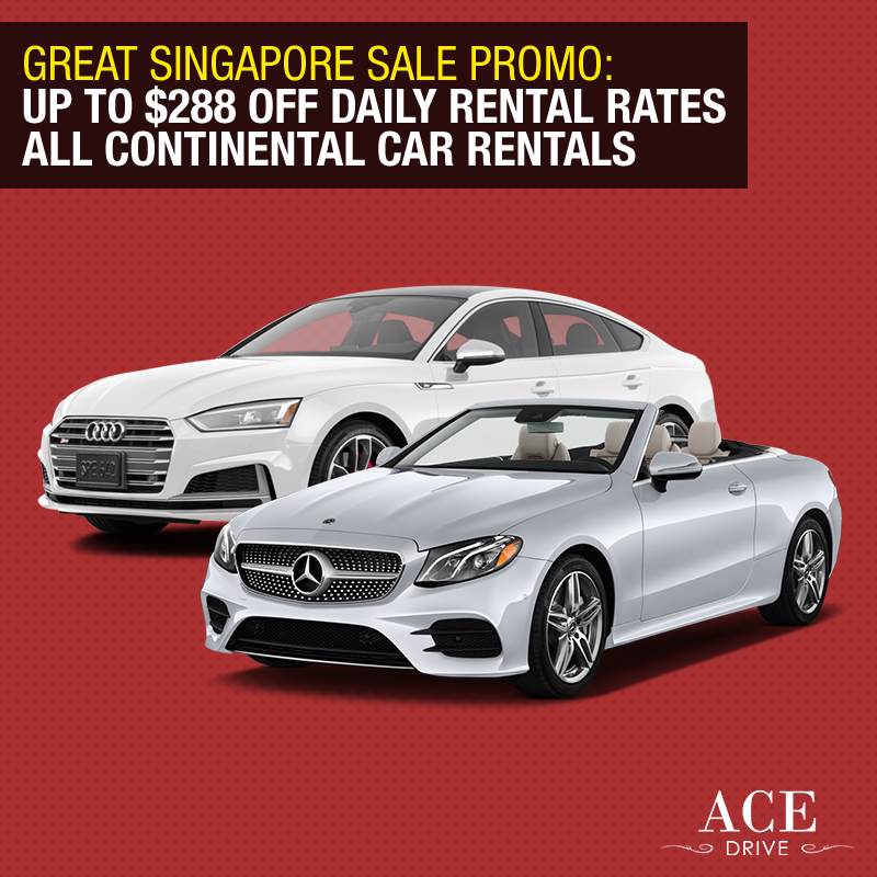 Great Singapore Sale Promo: Up to $288 Off Daily Rental Rates All Continental Car Rentals
