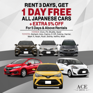Rent 3 Days, Get 1 Day FREE All Japanese Cars + Extra 5% Off for 5 Days & Above Rentals