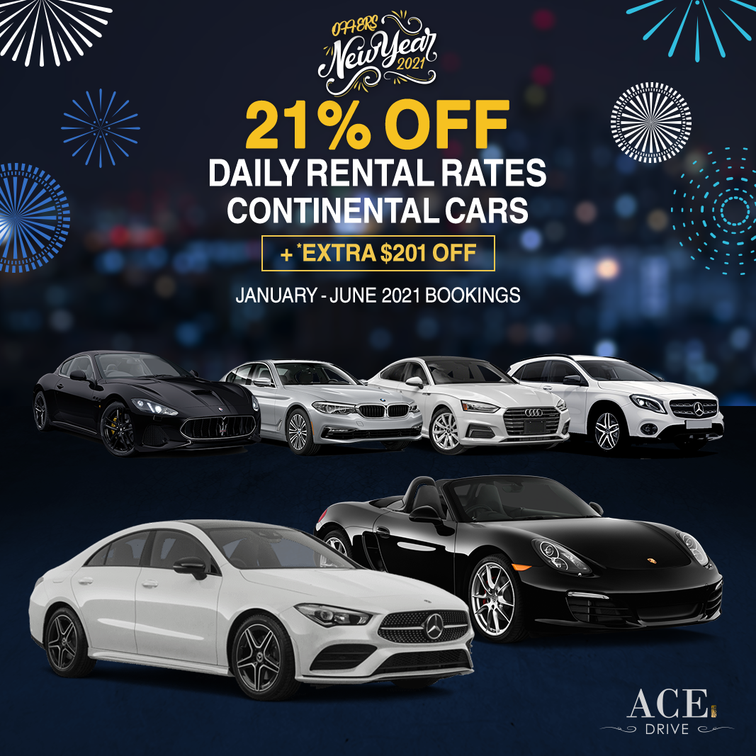 2021 New Year Offers 21% Off Daily Rental Rates Continental Cars + *EXTRA $201 Off January - June 2021 Bookings