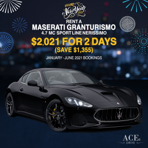 2021 New Year Offers Rent a Maserati GranTurismo 4.7 MC Sport Line Nerissimo for 2 Days for Only $2,021 (Save $1,355)