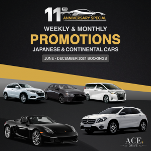 11th Anniversary Special: Weekly & Monthly Car Rental Promotions Japanese & Continental Cars June - December 2021 Bookings